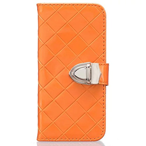iPhone Case Cover IPhone 6S 6 Case, Grid Lines Structure en treillis Premium PU Housse en cuir Housse Silicone Inner Cover Solid Case Case Couleur Portefeuille Avec Photo Fenêtre Pour Apple IPhone 6S  Orange