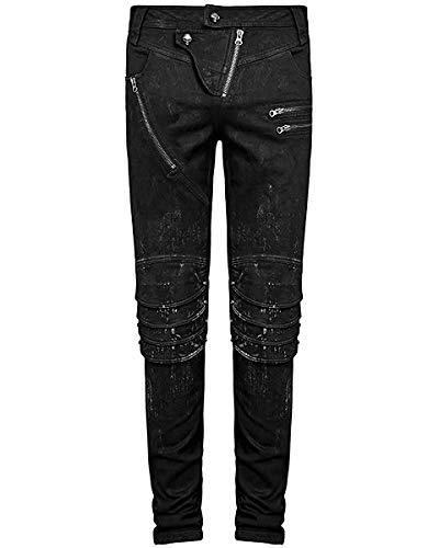 Punk Rave Herren DieselPunk Jeans Hose Schwarz Gothic Punk Knie Rüstung Hosen - Schwarz, L