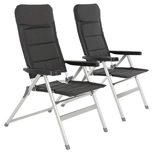 Nexos 2er Set Premium Klappstuhl Relax-Stuhl Campingstuhl Klappsessel - für Garten Terrasse Balkon - klappbarer Gartenstuhl gepolstert Alu - schwarz grau