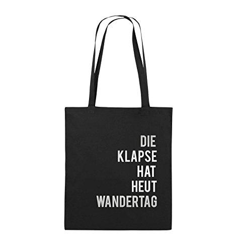 (Comedy Bags - DIE Klapse Hat Heut Wandertag - Jutebeutel - Lange Henkel - 38x42cm - Farbe: Schwarz/Silber)