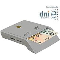 Woxter Lector Dni Combo - Lector DNI electrónico, compatible con las tarjetas Smart Cards o tarjetas inteligentes y con DNI 3.0, con 3 ranuras para tarjetas, color Blanco