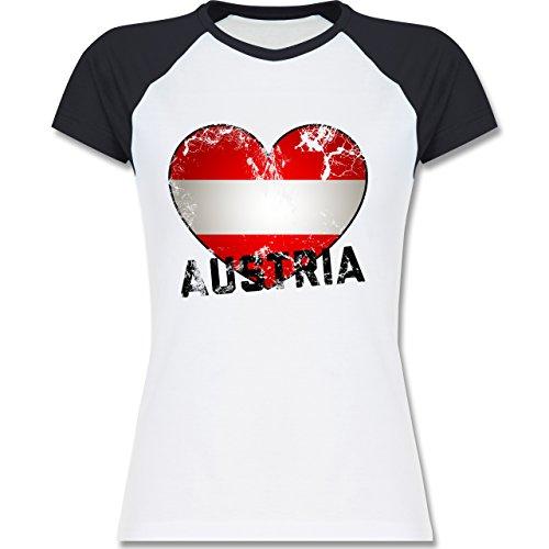 Shirtracer Länder - Austria Herz Vintage - Zweifarbiges Baseballshirt/Raglan T-Shirt für Damen Weiß/Navy Blau