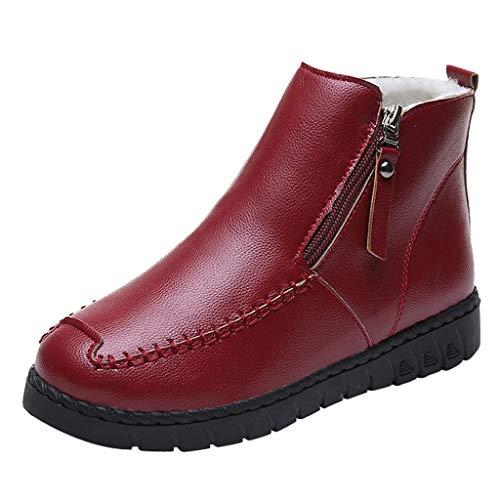 Fuibo Damen Warm Schneestiefel, Frauen einfarbig flach mit Reißverschluss Leder halten warme Schneeschuhe runde Zehenschuhe |Winterstiefel Stiefel Ankle Boots Schuhe Schlupfstiefel (38, Rot)