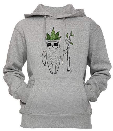 Erido König von Faultier Unisex Herren Damen Kapuzenpullover Sweatshirt Pullover Grau Größe XL Men's Women's Hoodie Sweatshirt Grey X-Large Size ()