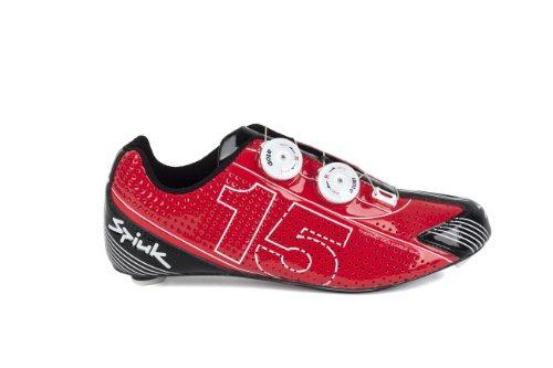 Spiuk 15 Road Carbono - Zapatilla de ciclismo unisex, color rojo / blanco, talla 38