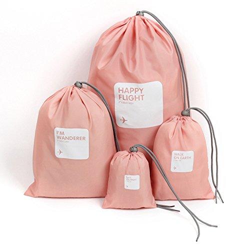 Tofern 4 pezzi set signore trucco organizzatore sacchetto organizzatori valigia sacchetti di stoccaggio di viaggio - rosa