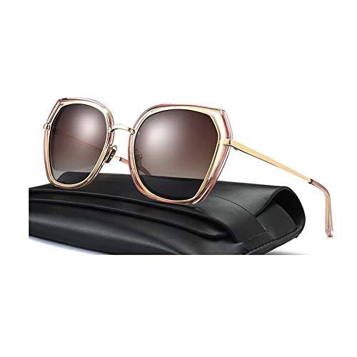 JFFFFWI Polarisierte Mode Damen Sonnenbrille fahrbrille großen Rahmen Sonnenbrille uv400 Schutz Farben Spiegel tragbare strandbrillen Sonnenschein Brille (Farbe: 6)