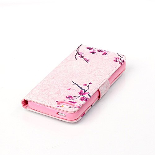 Coque pour iPhone 5 5S, Etui pour iPhone 5 5S, ISAKEN Peinture Style PU Cuir Flip Magnétique Portefeuille Etui Housse de Protection Coque Étui Case Cover avec Stand Support et Carte de Crédit Slot pou Fleur Pink