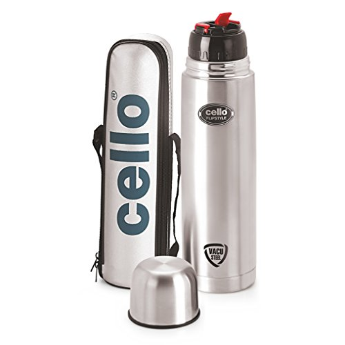 Cello Flip Style Stainless Steel Flask, 1 Litre, Silver