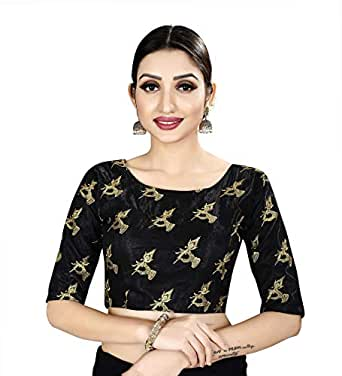 Spangel Fashion Sequence Work Round Neck Women's Saree's Blouse