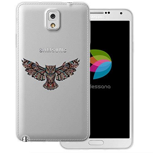 dessana Comic Eule transparente Schutzhülle Handy Case Cover Tasche für Samsung Galaxy Note 3 Eule Mosaik Muster (Eule Handy Cover Für Note 3)