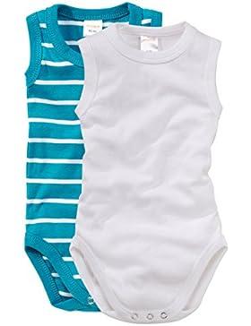 wellyou Baby und Kinder Babybody Ohne Arm mädchen und Junge aus 100% Baumwolle, Body 2er Set in türkis weiß