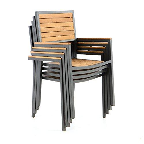 Nexos Trading Gartenstuhl Stapelstuhl Holzstuhl Terrassenstuhl Mit  Armlehnen   Teak Holz Aluminium   87x55x50 Cm