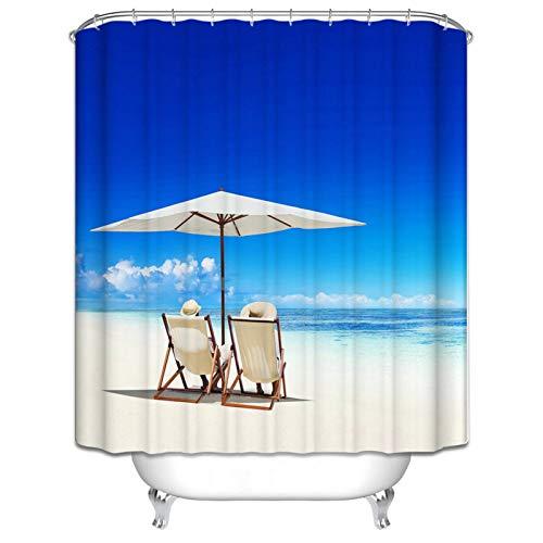 SonMo Duschvorhang Polyester Bunt Blickdicht 3D Anti Schimmel Wasserdicht Bad Vorhang für Badewanne Badezimmer mit Duschvorhangringen Sonnenschirmstuhl am Meer Wasser Beständig Trennwand 165X180CM