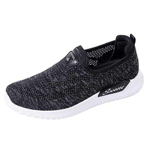 DOLDOA Sommerturnschuhe,Beiläufige Breathable Ineinander greifen-Schuh-gehende laufende Schuh-weiche untere Turnschuhe der Frauen (37 EU, Schwarz) -