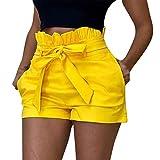 Pantalones Mujer Cortos Verano PAOLIAN Pantalones Sexy Vestir Fiesta Cintura Alta Talla Grande Cinturon Casual Gasa