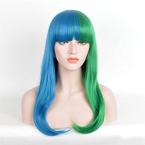 XY-QXZB Nachtclub Harajuku Farbe lange Haare in die Schnalle blau und grün Farbe Cosplay Animation Perücke