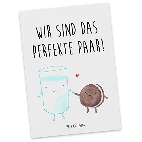 Mr. & Mrs. Panda Postkarte Milch & Keks - 100% handmade & handbedruckt - Milch Keks Postkarte, Postkarten, Einladungskarte, Geschenkkarte, Brief, Kärtchen, Geschenk, Karte, Papier, Einladung Milch Keks