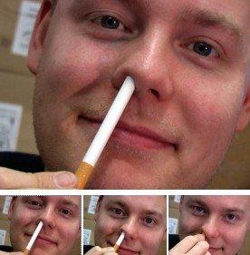 Sigaretta dentro il naso, giochi di prestigio,trucchi magia