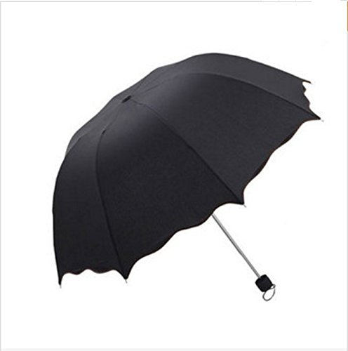 PANGUN Honana Hn-Ku5 Multicolor Flouncing Dome Sonnenschirm Klapp Schirm Sonne Regen Wind Für Lady Girls-Schwarz
