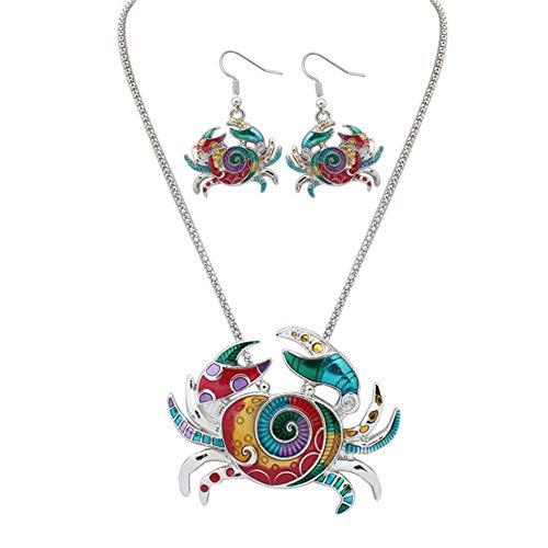 J.Memi.FA Krabbe Halskette Anhänger Emaille Mode Schmuck Ohrring Set Frauen Mädchen Freundin Mutter Tochter,Silver
