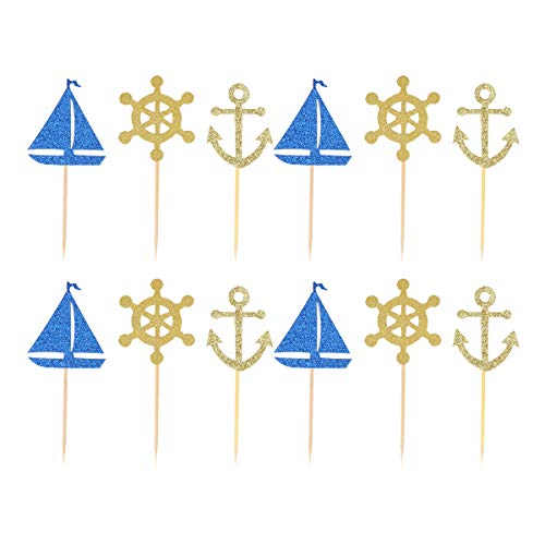 Toyvian 24pcs Nautical Cupcake Topper für Nautical Bridal Shower Babyparty
