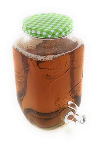 MC Trend 3 Liter Glas Getränkespender für den Kühlschrank mit Zapfhahn Wasser Saft Cocktail Getränke Sommer Party Feier (Getränkespender Karodeckel GRÜN) (Mit Zapfhahn Kühlschrank)
