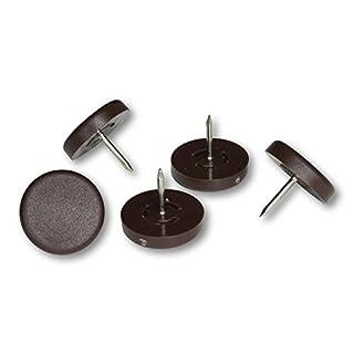 Kunststoffgleiter mit Nagel, braun, 25 mm Ø, 5 mm dick - 4 Stück