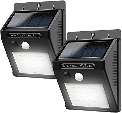 LED Solarleuchten mit Bewegungsmelder,Solarleuchte Außen,20 LEDs Solar Aussenleuchte 400 Lumen Solarlampe für Gärten,Türe,Flur,Wege,Terrassen(2-Stück)