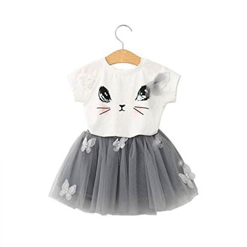 Rock Tutu Kinder Mädchen Katze Muster Hemd Oben Schmetterling Einstellen Kleidung (Ballerina Katze Kostüm)