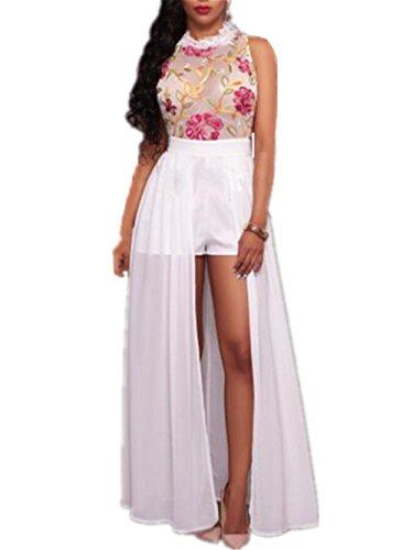 Kerlana moda donna vestito lunghe senza maniche ricamato vestito in chiffon elegante giuntura pizzo lungo abito da sera abito sexy unico belle split dress