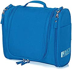 PETRICE Multifunctional Travel Toiletry Bag Extra Large Makeup Organiser Cosmetic Case Household Grooming Kit Storage Travel Kit Pack with Hook (Blue)