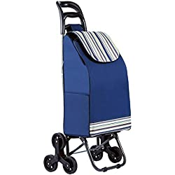 mfavour 38L Poussette de Marché, Pliable Chariot de Courses, Etanche Caddie à 6 Roues Escalier (Bleu) (Bleu Claire)
