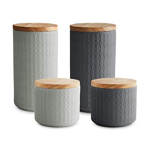 Keramik Vorratsdosen mit Holzdeckel Misty Cliff, Luftdichter Kautschukholz-Deckel, Aufbewahrungsdosen, Frischhaltedosen - 4-tlg. Set