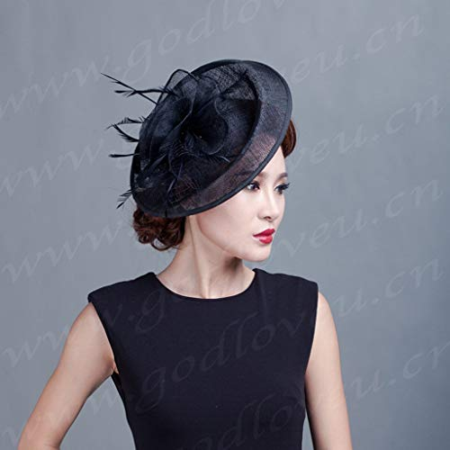 LIAN European Women Fashion Party Kopfschmuck Bowler Hat Philippinen Hanf Tiara Material Mehrfarben (Farbe : ()
