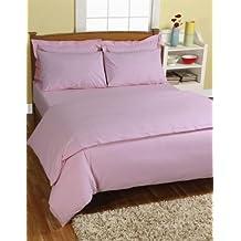 Homescapes Juego de Funda Nórdica y 2 fundas de almohada color Rosa de alta calidad 100% Algodon Egipcio de 220 x 260 cm y 50 x 75 cm