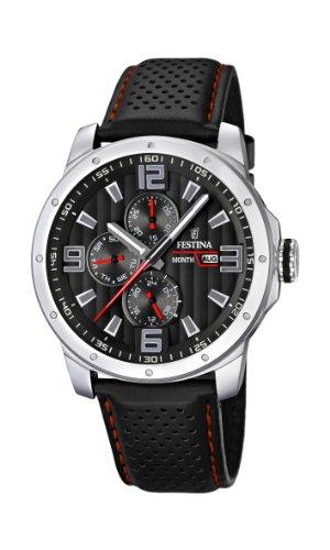 Festina Sport Multifunktion F16585/8 - Reloj analógico de cuarzo para hombre, correa de cuero color negro (agujas luminiscentes)