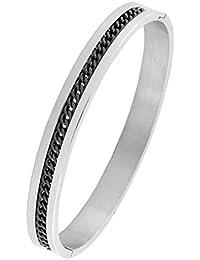28a5a2ce8c42 Designer Gourmette Noir Argent 316L en acier inoxydable chirurgical gratuit  pour ouvrir Taille Kada Bracelet homme