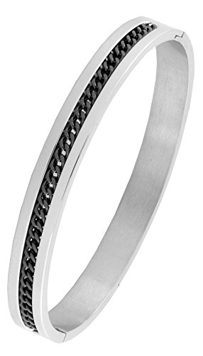 Designer Curb Black Silver 316L Surgical Stainless Steel Openable Free Size Kada Bangle Bracelet Men  available at amazon for Rs.746