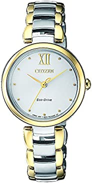 CITIZEN Womens Solar Powered Watch, Analog Display and Solid Stainless Steel Strap - EM0534-80A