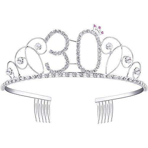 Ouinne Tiara Cristal Cumpleaños Corona Princesa Feliz Cumpleaños de Número 30 Accesorios con Peine