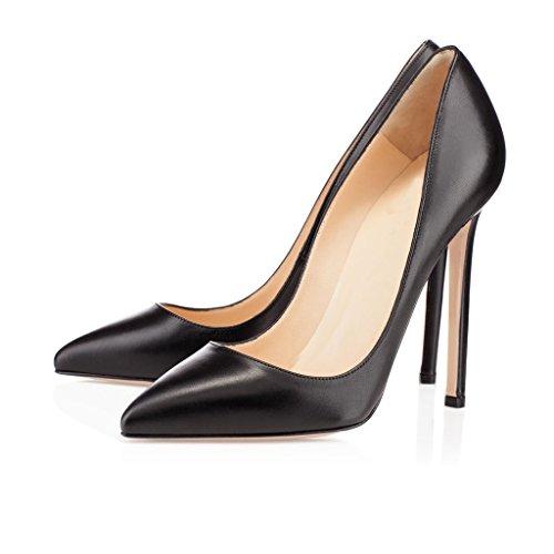 81c5aaf332ea14 ... EDEFS Damen Hohen Absätzen Übergröße Pumps Spitze Zehen Klassische  Schuhe Elegante High Heels Schwarz ...
