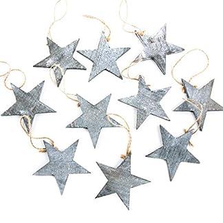 Logbuch-Verlag – 10 Estrellas Colgantes navideños Gris Jaspeado Shabby Chic Vintage de Madera Colgante Navidad Adorno para árbol de Navidad Regalo