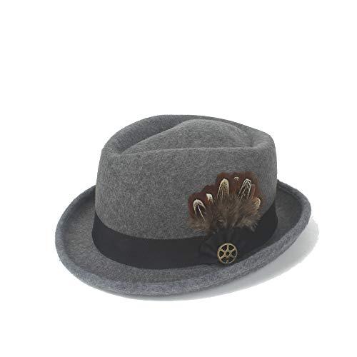 LLP-HAT Outdoor Fedora Hut Filz Wollfeder Metall Dekoration Panama Gangster Hut Jazz Knight Fashion Retro (Farbe : Navy Gray, Größe : 56-58CM)