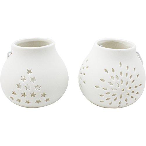 com-four® 2-teiliges LED Windlicht Sterne & Blume aus Keramik, LED Kerze, weiß, ca. 10 x 9 cm (02 Stück - Keramik Blume + Stern) Keramik-santa