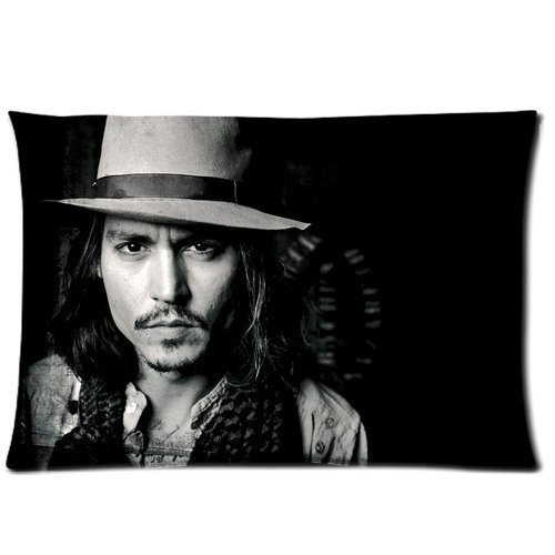 Custom Cotton & Polyester Soft Rectangle Pillow case cover 20 x 30 (One Side) - Music Movie Star America Kentucky Hot Cool popular Johnny Depp Black Personalized Pillowcase for fans desi