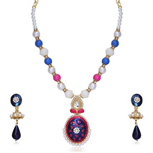Kriaa Alloy Pink & Blue Ethnic Necklace Set - 2201509  available at amazon for Rs.329