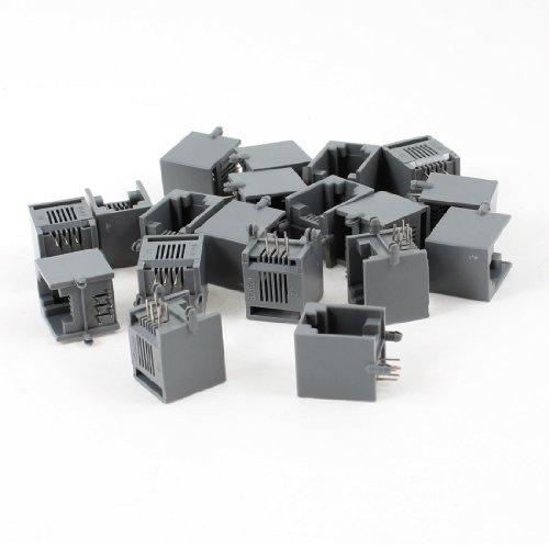 sourcingmap 19Stk. Grau RJ12 6P6C 6 Runde Pin Modular Netzwerkanschluss PCB Verbinder Jacks (6p6c Modular-kabel)