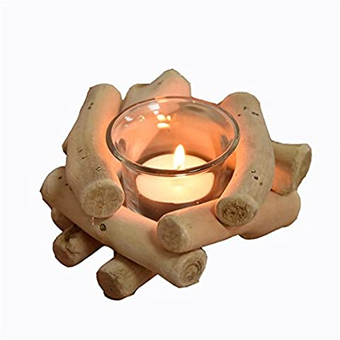 Nordic creative gifts handmade wooden candle holders, handicrafts home furnishings