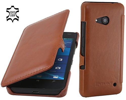StilGut Book Type Case mit Clip, Hülle aus Leder für Microsoft Lumia 550, Cognac